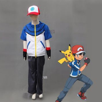 Athemis Ash Ketchum Cosplay Pokemon Pocket Monster Bw-ash Katchum Cosplay Costume Any Size Custom Made - Beauty Ticks