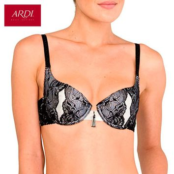 Woman's Gray Bra With A Molded Foam Cups On Frames Microfiber