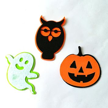 Halloween Ghost Pumpkin Owl Shape DIY Non-Woven Patches Wall Clothes Party