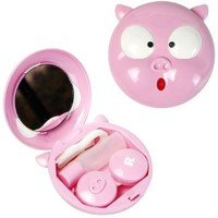 Compact Style Pig Funny Face Contact Lens Travel Kit Tweezers, Solution Bottle, Mirror (Pink)