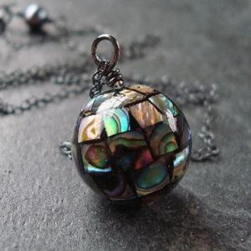 Iridescent Abalone Shell Mosaic Oxidized Sterling Silver Necklace - Nebula