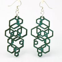Hexagon Cluster  Wood Earrings by GreenTreeJewelry on Etsy