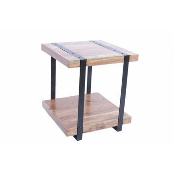 Wooden Square Top Side Table With A Lower Shelf, Brown And Black By The Urban Port