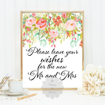 Please leave your wishes for the new Mr and Mrs floral wedding guestbook guest book art print wedding sign wedding decor art signage decor