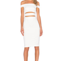 NICHOLAS Ponti Off Shoulder Strap Dress in White