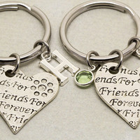 Friends Forever Keychains | Best Friend Gift | Birthstone Initial Keychain | Letter Charm | Gift for Best Friend | Best Friends Forever