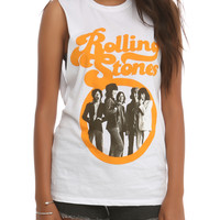 The Rolling Stones Orange Logo Muscle Girls Top