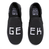 Geek Embroidered Black Slip-On Shoes