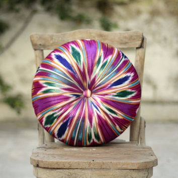 Fuchsia multi-colored ikat velvet round pillow 16""