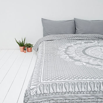 Mehandi medallion quilt in grey and white urban outfitters