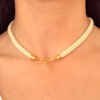 Cream Rope Nautical necklace with gold rings