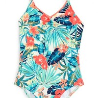 Roxy Jungle Poem One-Piece Swimsuit (Big Girls) | Nordstrom