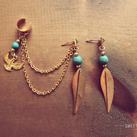 Gold Leaf with Delicate Turquoise Beads and Dangling Iris EarCuff Set