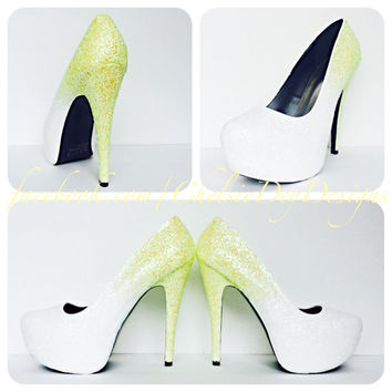 Lemon Drop Ombre Glitter High Heels