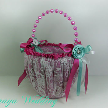 Flower Girl Basket, Wedding Basket in Fuchsia Satin, White Lace with Blue Green, White and Fuchsia Roses