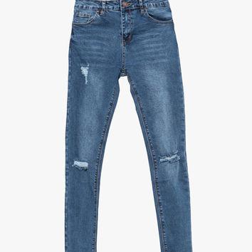 Blue Skinny Ripped Jeans - High Rise
