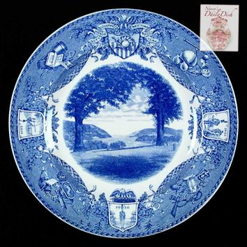"Wedgwood Historical ""North Trophy Point""  West Point Military Academy Blue Transferware Plate"