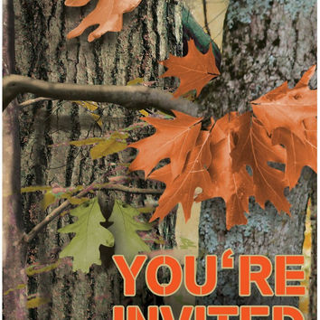 hunting camo invitations Case of 4