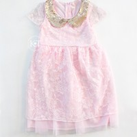 Pink and Gold Sequin Lace Dress