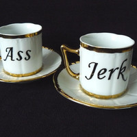 Ass Jerk coffee set by trixiedelicious on Etsy