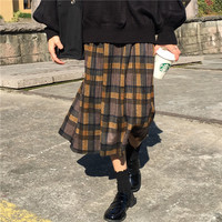 Buy monroll Plaid Accordion Pleat Midi Skirt | YesStyle