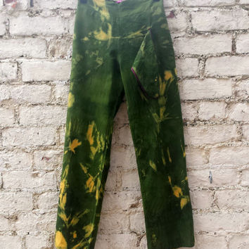 Yoga Pants Tie Dye Thai Fisherman Trousers in Green & Yellow 100% Cotton Size Small