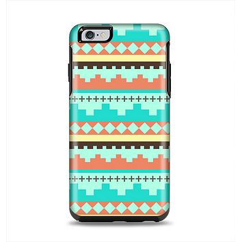 The Teal & Gold Tribal Ethic Geometric Pattern Apple iPhone 6 Plus Otterbox Symmetry Case Skin Set