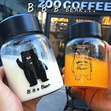 portable bear fruit tea cup glass milk mug gift 06 2