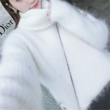 Women Casual Winter Warm Mohair Sweaters Pullovers Long Tutleneck High Neck Dress Shirt Loose Baggy Solid Color Rabbit Fur Soft