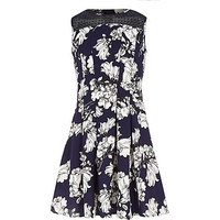 River Island Girls blue floral pleated dress