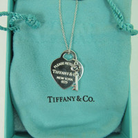 """TIFFANY & CO. Sterling Heart Tag w/Key Pendant/Necklace, 18"""", 7.8g, $175MSRP"""