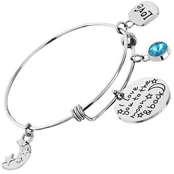 Expandable Bangle W Birthstone for Mom Daughter I Love You to the Moon and Back Bracelet Mothers Day Birthday Valentines Gift