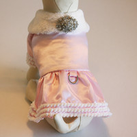 Pink Dog Dress, dog clothing, Chic, classy, Winter clothing, dog coat