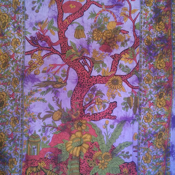 Cotton Fabric Tree of life Tapestry Hippie Bedspread Throw Wall Hanging Bohemian Ethnic Home Decor - by alZakhira