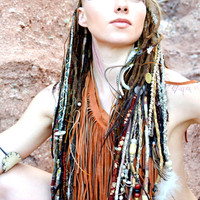 THUNDER • Tribal Native Hair Wraps • Removable Handmade Dreadlocks • Bohemian Festival Braids • Boho Hair Art • OOAK Hippie Hair Wraps