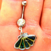 Navel Belly Button Ring Barbell Paua Shell Crystal naval