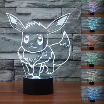 3D Visual Led Nightlight for Kids Pokemon Go Action Figure Toys Eevee Chaos Black 3D Light 7 Color Change Lamp as Beside Lampara
