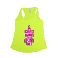 Women's Keep Calm & Fight On Breast Cancer Awareness Tri blend Tank NEON YELLOW