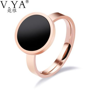 V.YA Fashion Personality Women Rings Stainless Steel Jewelry Finger Rings for Women High Quality Black Resin Design