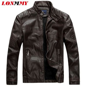 LONMMY Men leather jacket Slim fit Suede Velvet Faux PU Stand Collar Casual coat 2017 Autumn winter Moto leather jacket men
