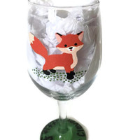 Fox Wine Glass, Stay Clever Little Fox Custom Hand Painted Wine Glass, Hand Painted Fox Art Wine Glass, Wine Glass Art, Hand Painted Fox Art