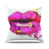 "Oriana Cordero ""Kiss Me"" Pink Lips Outdoor Throw Pillow"