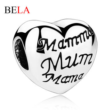 Enamel Silver Plated Mum Mama Heart Charms Fit Original Pandora Bracelet Necklace Jewelry Accessories for Mother's Day Gift