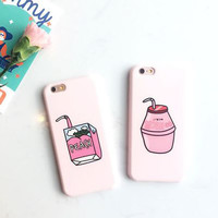 Cartoon Milk Drinks Soft TPU All Inclusive Slim Phone Case for iPhone 6/6S plus 7 7plus Phone Shell