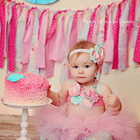 The Kinley Tutu & Headband- Pink, Aqua, Birthday, 1st birthday, Girl, Newborn, Infant, cake smash, photo prop