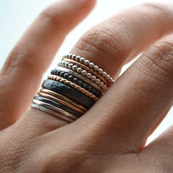 12 stacking rings, 14k gold filled and silver bands