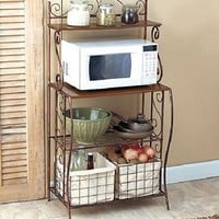 Baker's Rack Wire Microwave Stand Kitchen Metal Storage Antique Vintage Rustic