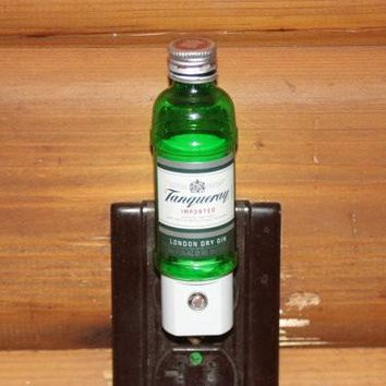 Upcycled Mini Tanqueray Bottle Night Light, LED Night Light, Upcycled Liquor Bottle