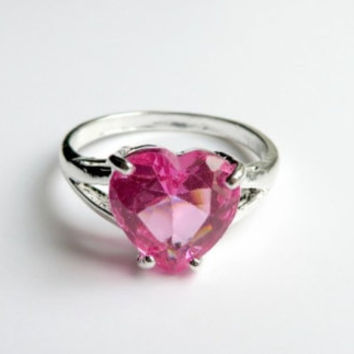 Vintage Sterling Silver Pink CZ Heart Ring Size 7, Promise Ring, Engagement Ring
