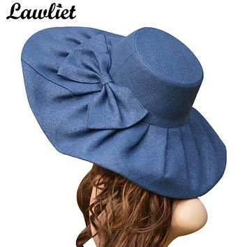 2017 Linen Summer Hat Women Kentucky Derby Wide Brim Sun Hat Wedding Church Sea Beach Hats for Women Floppy Ladies Hat with Bow
